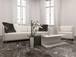 weiß wohnzimmer mit erker interiow und schwarzem marmor boden
