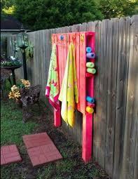 DIY Pallet Pool Noodles And Towel Holder For On The Deck