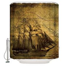 100 Design A Pirate Ship CHRMHOME Vintage Nautical Vintage Sailing Theme Polyester Bathroom Shower Curtain 60WHInch