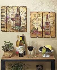 Set Of 2 Printed Pallet Wall Art Hangings Wine Bottle Vineyard Theme Home Decor