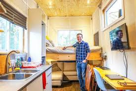 100 Tiny House On Wheels Interior Engineering Grad Builds With An Elevator Bed For
