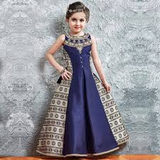Buy Navy Blue Beige Banglori Silk Gown For Kids Online India Best