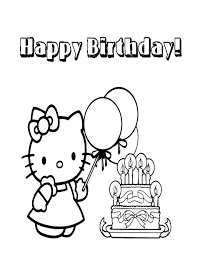 Hello Kitty Birthday Cake Coloring Page