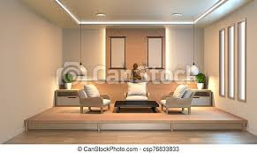 104 Interior Design Modern Style Living Room With Wood Floor And White Wall In Japanese 3d Rendering Canstock