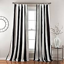 Black And White Striped Curtains by Amazon Com 2 Piece 84 Inch Bold Black White Rugby Stripes