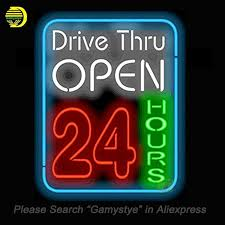 neon sign for drive thru open 24 hours neon bulbs sign handmade