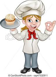 Cartoon Female Woman Baker Pastry Chef Vector