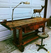 vintage wood workers work bench desk kitchen island