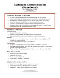 Bartender Qualifications Summary Sample With Highlighted Red Box