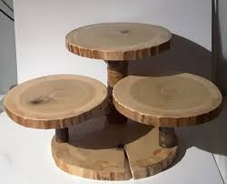Large Rustic Cupcake Stand Wood Slice Cake Wedding Decor Display