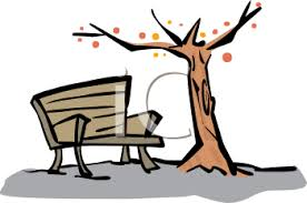 0511 1001 2304 0824 Bench Under a Fall Tree clipart image