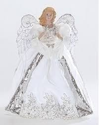 White And Silver Porcelain Angel With Bows Christmas Tree Topper 14