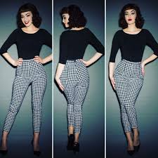 Houndstooth Cigarette Pants Are Back In Stock Vintage Top 1950s Fashion PantsModern