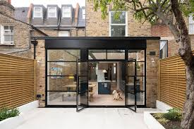 100 Glass Extention Wood And Steel Contemporary Rear Extension To Cramped London