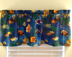 Tropical Window Art Curtains by Fish Curtains Etsy