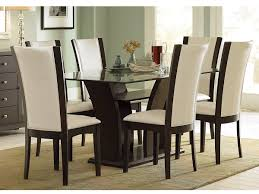 Furniture Glass Top Wooden Base Fine Modern Dining Table Design With 6 White Leather Seats For Minimalist Living Room Set Up Ideas