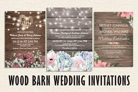 Rustic Wood Barn Wedding Invitations