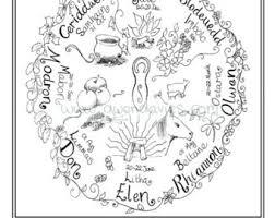 Adult Colouring In PDF Download Celtic Welsh Pagan Calming Mindfulness Henna Zen Mandalas Flower Anti Stress