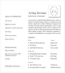 Sample Acting Resume Template Child Actor Performers Cv