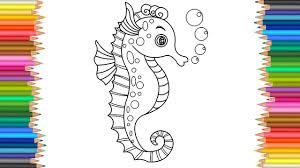 Seahorse Coloring Page L Markers Videos For Children Learn Colors Kids