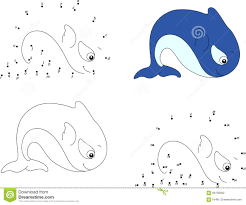 Cartoon Whale Coloring Book And Dot To Game For Kids