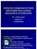 Verizon munications Implementing Human Resource Scorecard