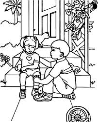 Kindness Is Comforting Little Sister Colouring Page