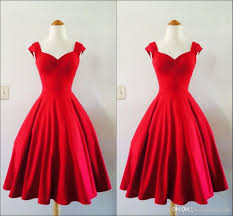 charming red bateau neck short evening dresses 2017 knee