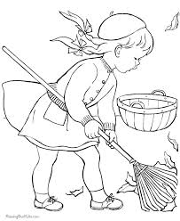 The Girl Cleaning Page From Faliage Coloring Pages