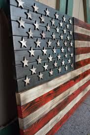 Rustic American Flag Red White And Blue Wooden