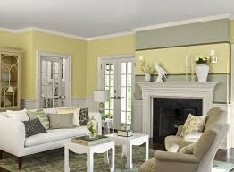 ecellent light yellow living room paint wall with white furnitures