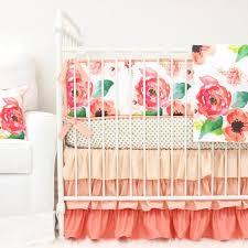 Boho Chic Floral Ruffle Crib Bedding