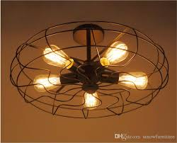 loft vintage ceiling light fan style e27 edison bulb ceiling light