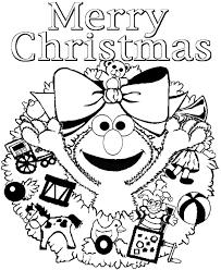 Elmo Sesame Street Merry Christmas Coloring Page