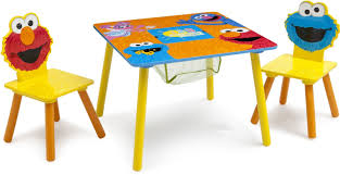 Kids Play Table Set Chairs With Storage Elmo Cookie Monster Furniture