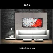 bild wohnzimmer handgemalt schwarz weiß rot zenic
