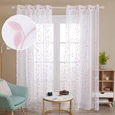 deconovo gardinen kinderzimmer mädchen stores ösenvorhang transparent gardinen wohnzimmer vorhang stickerei 245x140 cm pink blatt 2er set
