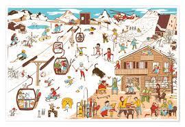premium poster wintersport wimmelbild