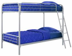 Twin over Twin Metal Bunk Bed with Ladder in Silver Finish