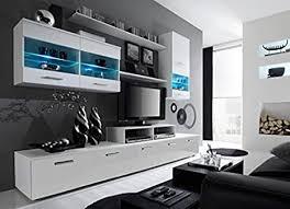 alpha weiß glänzend und weiß matt moderne wohnwand tv
