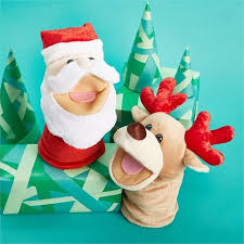 CUPCAKES AND CARTWHEELS JOLLY JINGLES HAND PUPPET ASSORTED SANTA OR REINDEER