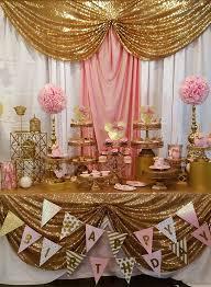 pink gold garland backdrop birthday baby shower by ohmycharley