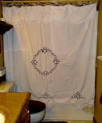 Battenburg Lace Curtains Ecru by Lace Shower Curtains Elite Battenburg Lace Shower Curtain Has A