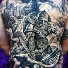 Creative Mens Back Viking Warrior Tattoo