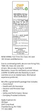 FT CDL Class A & B Drivers & Mechanics, Chambersburg Waste Paper ... Job Posting Class B Cdl Driver Wanted Commercial Drivers License Wikipedia Progressive Truck Driving School Chicago Traing How To Write A Delivery Driver Resume With Examples The Jobnetwork Free Download Class B Jobs Dayton Ohio Billigfodboldtrojer City Of Winstonsalem On Twitter Fair For Class Aclass Bcdl Pretrip Inspection Passenger Bus Youtube Cdl Schools Jobs In Kansas Ilink Business Manag Ilinkmanag Practice Test Free 2018 All Endorsements Driver Resume Sample Papei Rumes Examples Sraddme