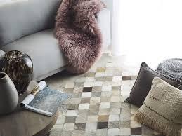teppich kuhfell grau braun 140 x 200 cm kariertes muster