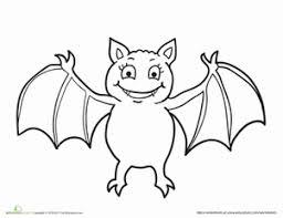 Halloween Preschool Kindergarten Animals Worksheets Vampire Bat Coloring Page