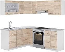 vicco küchenzeile l 210cm küchenblock winkel eck einbau sonoma eiche kombinierbare einheiten r line