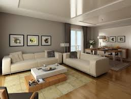 Modern Living Room Style Cream Rug White Sofa Fabric Seat Cover Rectangle Laminated Wooden Table Black