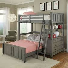 Twin over Full Bunk Bed Loft with Chest and Ladder in Stone Wood